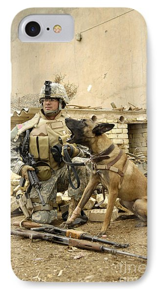 A Dog Handler And His Military Working Phone Case by Stocktrek Images