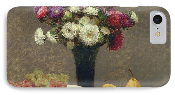 Asters And Fruit On A Table IPhone Case