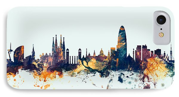 Barcelona iPhone 7 Case - Barcelona Spain Skyline by Michael Tompsett