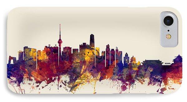 Beijing China Skyline IPhone Case by Michael Tompsett