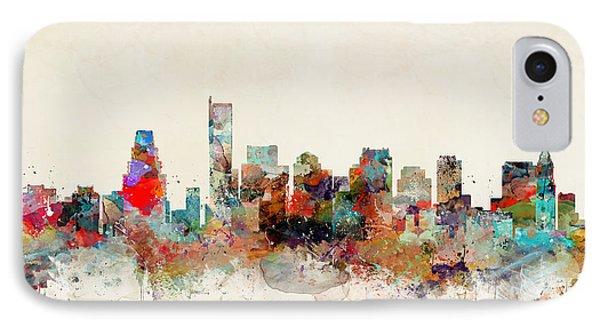 Boston City Skyline IPhone Case by Bri B