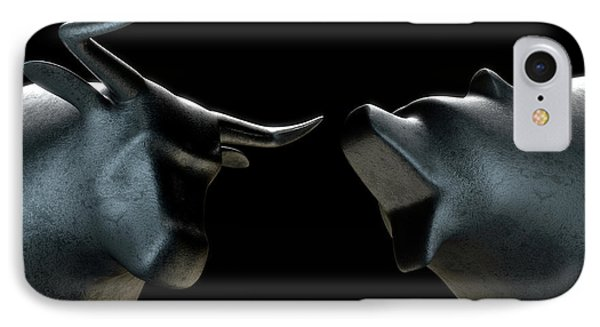 Bull Versus Bear IPhone Case by Allan Swart