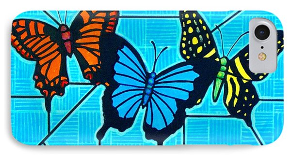 3  Butterflies On Blue IPhone Case