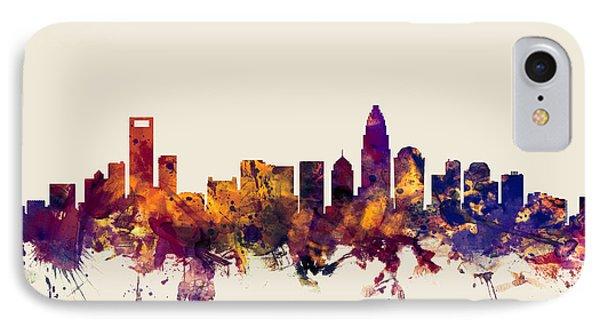 Charlotte North Carolina Skyline IPhone Case by Michael Tompsett