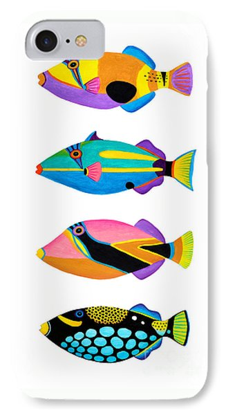 Collection Of Trigger Fishes IPhone Case by Opas Chotiphantawanon
