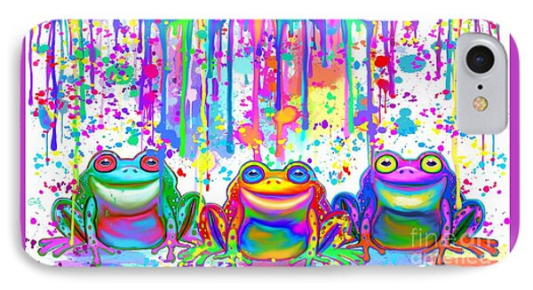 IPhone Case featuring the painting 3 Colorful Painted Frogs by Nick Gustafson