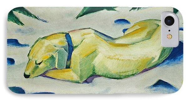 Dog Lying In The Snow IPhone Case by Franz Marc