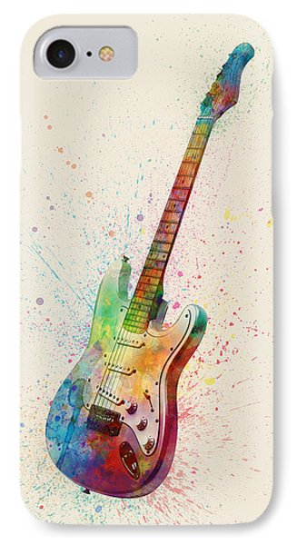 Electric Guitar Abstract Watercolor IPhone 7 Case by Michael Tompsett