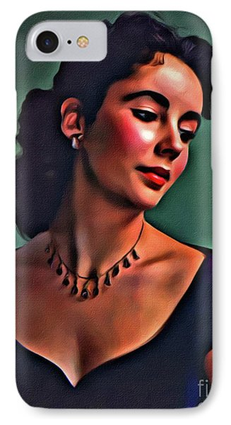 Elizabeth Taylor, Vintage Hollywood Legend By Mary Bassett IPhone Case by Mary Bassett