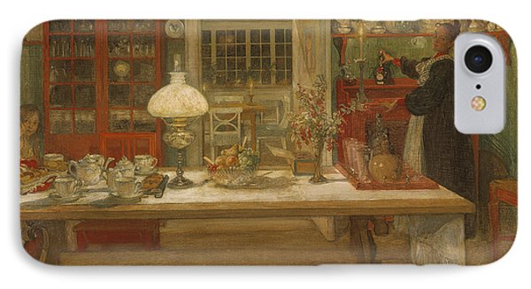 Getting Ready For A Game IPhone Case by Carl Larsson