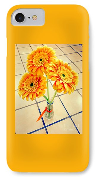 3 Golden Yellow Daisies Gift To My Beautiful Wife Suffering With No Hair Suffering Frombreast Cancer IPhone Case by Richard W Linford