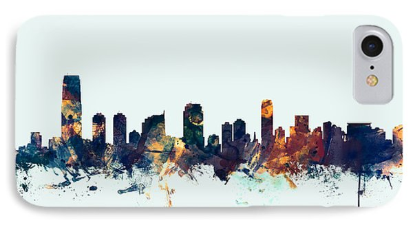 Jersey City New Jersey Skyline IPhone Case by Michael Tompsett