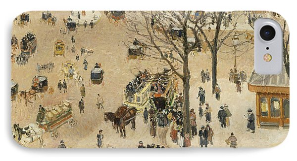 La Place Due Theatre Francais  IPhone Case by Camille Pissarro
