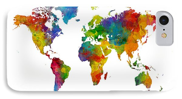 Map Of The World Map Watercolor IPhone Case by Michael Tompsett