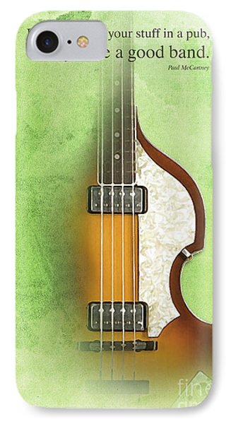 Mccartney Hofner Bass, Vintage Background, Gift For Musicians, Inspirational Quote IPhone Case