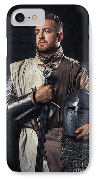 Medieval Knight In Armour IPhone Case by Amanda Elwell