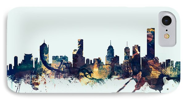 Melbourne Skyline IPhone Case by Michael Tompsett