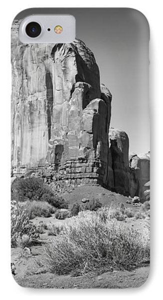 Monument Valley Rock Formations Black And White IPhone Case