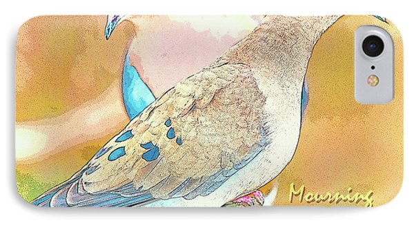 IPhone Case featuring the digital art Mourning Dove Pair  by A Gurmankin