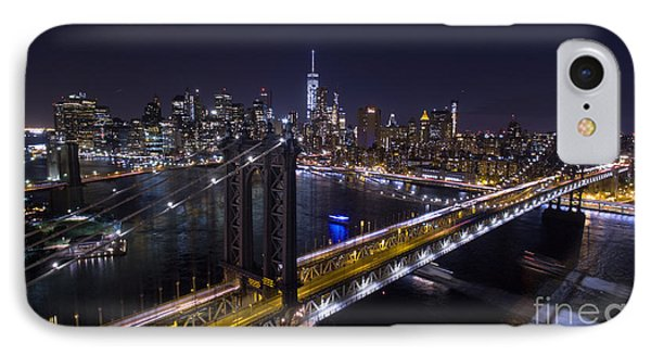 IPhone Case featuring the photograph New York City, Manhattan Bridge At Night by Petr Hejl