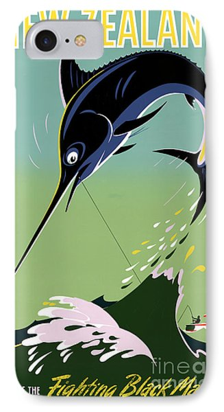 New Zealand Vintage Travel Poster Restored IPhone Case