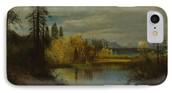 Outlet At Lake Tahoe IPhone Case by Albert Bierstadt