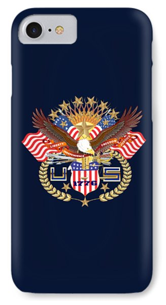 Patriotic America Mixed Designs W-transparent Back Pick Your Color IPhone Case by Bill Campitelle