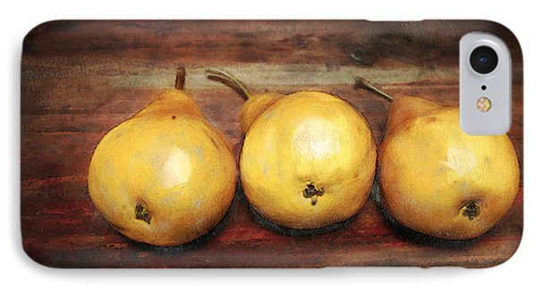 3 Pears On A Wooden Table IPhone Case by Julius Reque