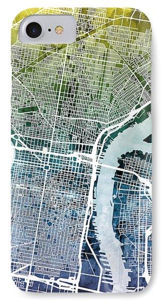 Philadelphia Pennsylvania City Street Map IPhone Case by Michael Tompsett