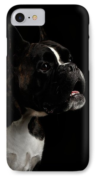 Purebred Boxer Dog Isolated On Black Background IPhone Case