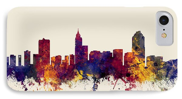 Raleigh North Carolina Skyline IPhone Case by Michael Tompsett