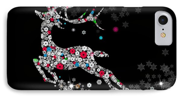 Reindeer Design By Snowflakes IPhone Case by Setsiri Silapasuwanchai