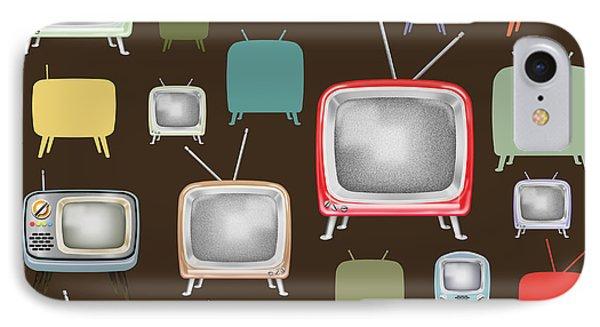 retro TV pattern  IPhone Case by Setsiri Silapasuwanchai