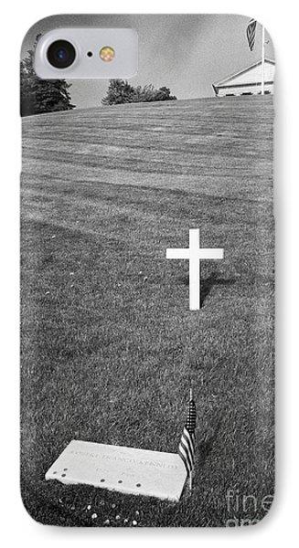 rfk robert francis kennedy grave with coins arlington cemetery Washington DC USA IPhone Case by Joe Fox