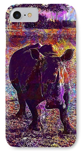 IPhone Case featuring the digital art Rhino Africa Namibia Nature Dry  by PixBreak Art