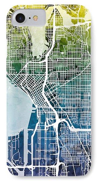 Seattle Washington Street Map IPhone 7 Case by Michael Tompsett
