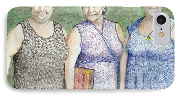IPhone Case featuring the drawing 3 Sisters by Albert Puskaric