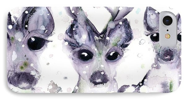 IPhone Case featuring the painting 3 Snowy Deer by Dawn Derman