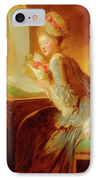IPhone Case featuring the painting The Love Letter by Jean Honore Fragonard