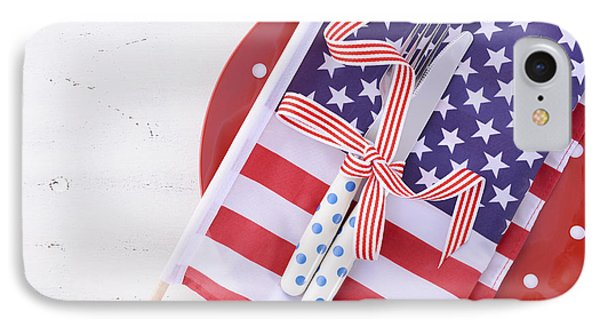 Usa Party Table Place Setting With Flag On White Wood Table.  IPhone Case by Milleflore Images