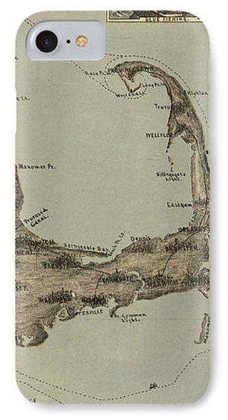 Vintage Map Of Cape Cod  IPhone Case by CartographyAssociates