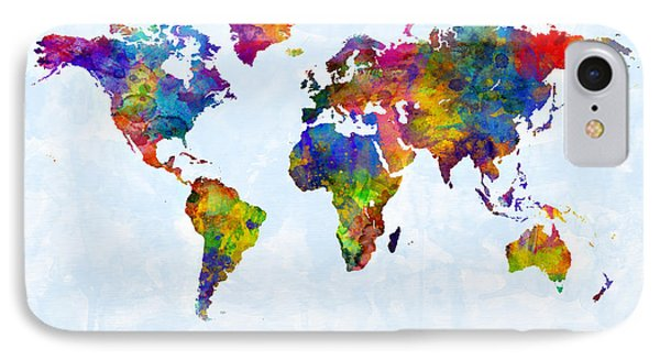 Watercolor Map Of The World Map IPhone Case by Michael Tompsett