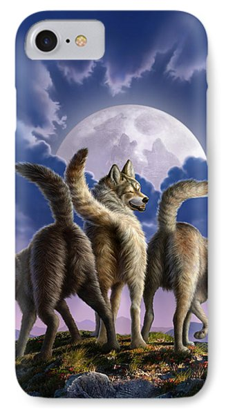 3 Wolves Mooning Phone Case by Jerry LoFaro