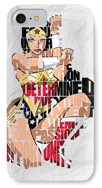 Wonder Woman Inspirational Power And Strength Through Words IPhone Case by Marvin Blaine