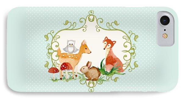 Woodland Fairytale - Animals Deer Owl Fox Bunny N Mushrooms IPhone Case by Audrey Jeanne Roberts