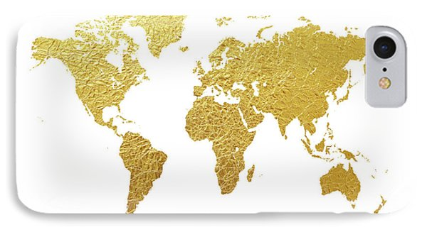 World Map Gold Foil IPhone Case