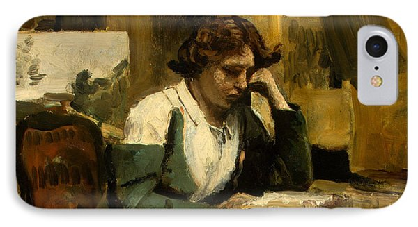 Young Girl Reading IPhone Case by Jean-Baptiste-Camille Corot