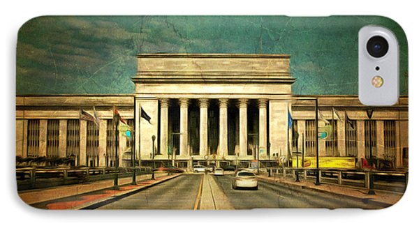 IPhone Case featuring the mixed media 30th Street Station Traffic by Trish Tritz