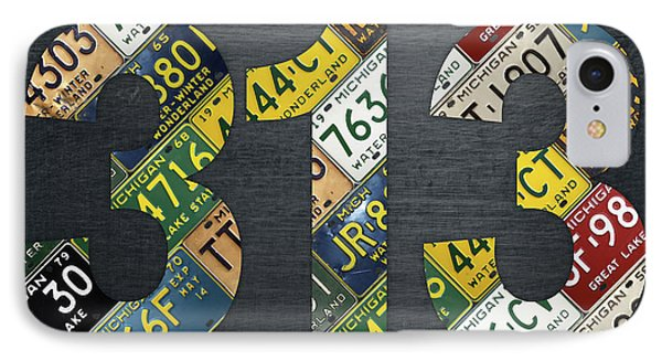 313 Area Code Detroit Michigan Recycled Vintage License Plate Art IPhone Case by Design Turnpike