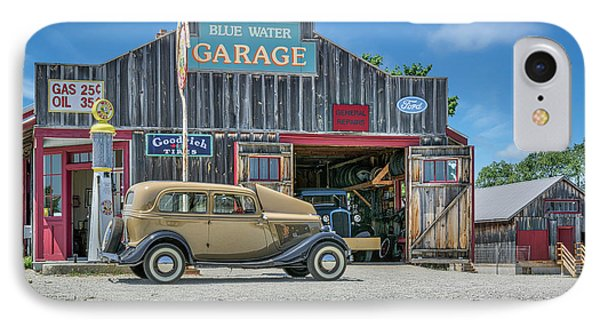 '34 Ford Sedan At Blue Water Garage IPhone Case by Irwin Seidman